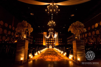Ivory Taffeta Drapery Altar Swag and GOBO Wash